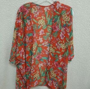 FOREVER 21 Overpiece Lovely Tangerine Floral OS